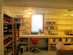I like all of the shelving above the workspace to house stamps, sponges, containers, etc.