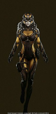 Future space suit or combat operative, inspiration ArtStation - Gold Seraph Gabriel, Yulin Li Character Concept, Character Art, Concept Art, Character Design, Sci Fi Fantasy, Fantasy Girl, Science Fiction, Arte Ninja, Cyberpunk Girl