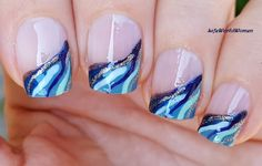 DIY Easy Nail Art Tutorial - Nail Designs For Beginners Too! I'm not a pro, and I learn always new designs and my head is full with 'H. Nail Art Diy, Easy Nail Art, Diy Nails, Manicure Ideas, French Manicure Nails, French Manicure Designs, Nail Designs, Ocean Blue Nails, French Nail Art