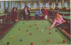 A billiards room Butlins Holidays, British Holidays, Billiard Room, Best Memories, Good Old, Vintage Postcards, England, Camps, People
