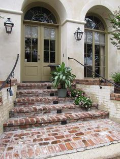 extended lit enty and lit brick steps Front Porch Railings, Brick Porch, Front Porch Steps, Porch Stairs, Patio Doors, Red Brick Pavers, Brick Walkway, Front Walkway, Brick Patios