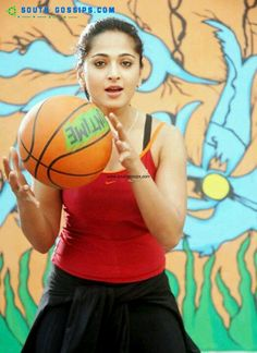 Milky white bubbly south Indian actress snapped while playing basketball ----- ANUSHKA SHETTY -----