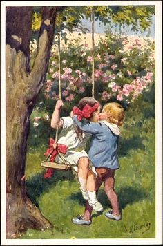 Artist Postcard Feiertag, Karl, Kuss auf der Schaukel, BKWI 116 5