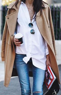 The perfect basics, trench coat and an over sized white shirt