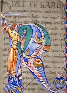 Beowulf's world This illustration from a 13th-century French manuscript of Beowulf is a collage by Benjamin Slade, juxtaposing an image from Dijon Municipal Library MS 168, fol. Description from pinterest.com. I searched for this on bing.com/images