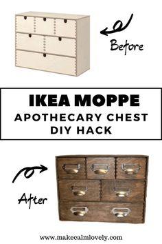IKEA Moppe DIY Apothecary Mini Storage Chest Hack – Make Calm Lovely – craftsfurniture Do It Yourself Ikea, Diy Furniture Hacks, Furniture Storage, How To Make Labels, Hacks Diy, Ikea Hacks, Diy Storage Hacks, Decoration, Storage Chest