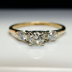 Vintage .69cttw Art Deco Diamond Engagement Ring with 14k Yellow & White Gold - Size 7.75 - Free Resizing