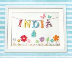 Personalised Custom Made Baby or Child Name Art Print, Bunting & Flower Meadow, Nursery Art on Etsy, $55.66