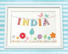 Personalised Custom Made Baby or Child Name Art Print, Bunting & Flower Meadow, Nursery Art £35.00