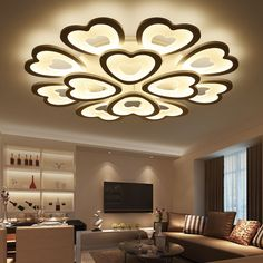 Modern LED Ceiling Lights For Living Room Bedroom Ceiling Lamp Acrylic Heart Shape LED Ceiling Lighting Home Decor False Ceiling Living Room, Bedroom False Ceiling Design, Ceiling Light Design, Bedroom Ceiling, Living Room Lighting, Living Room Bedroom, Ceiling Ideas, Master Bedroom, Modern Led Ceiling Lights