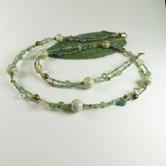 Double strand aqua necklace with Kazuri beads by RedVioletDesign on Etsy