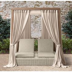 Provence Canopy Double Chaise from RH email blast Outdoor Loungers, Canopy Outdoor, Outdoor Decor, Pallet Furniture Bar, Outdoor Furniture, Office Furniture, Pallet Sofa, Wicker Furniture, Diy Pallet