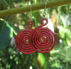 Red+earrings+spiral+earrings+holiday+red+by+SunshineDaydreamz,+$8.00