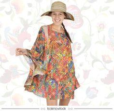 Kaftan estampado + Chapéu listrado #moda #look #verão #modapraia #blueman #kaftan #estampa #praia #beachwear #shop #loja #ecommerce #lnl #looknowlook
