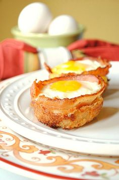 Bacon and egg cups cooked in a muffin pan!
