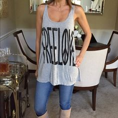 Free Love Tank This is a cute racer back tank. Cute, comfy, sexyNo damage Tops Tank Tops