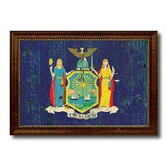 New York State Flag Custom Made Frame Rustic Vintage Decoration Patriotic Home Office Shabby Chic Western Interior Design Art Giclee Wall Décor Gift Ideas AllChalkboard http://www.amazon.com/dp/B00TX0FWMO/ref=cm_sw_r_pi_dp_fBZIvb1YZWG2K