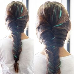 Click through to learn how to give your classic fishtail braid a colorful twist! | Colorful Fishtail Braid Tutorial