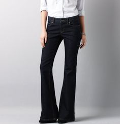 Curvy Flare Leg Jeans in Rinse Wash from LOFT ... my new favorite pair of jeans, perfect length to wear with wedges!