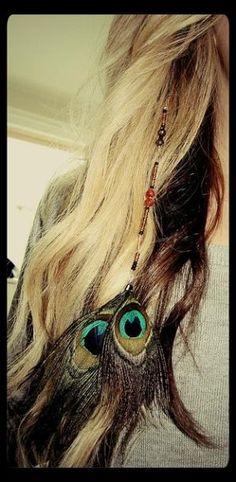 indie peacock beaded hair extension