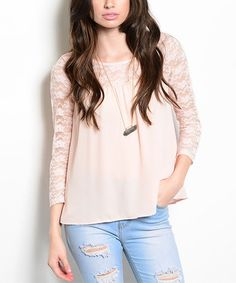Sheer lace sleeves and yoke complement the voluminous swing silhouette detailing this trend-right top. Swing Top, Peach Top, Lace Sleeves, That Look, Cute Outfits, V Neck, Clothes, Tops, Spring