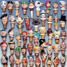 A collection of cork heads. Collections Of Objects, Displaying Collections, Assemblage, Bottle Stoppers, Old Antiques, Retro Vintage, Minion, Creative, Product Design