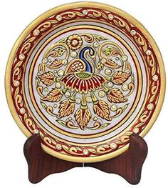 Handicrafts Peacock Pattern Round Marble Showpiece Plate with Stand Multicolor Peacock Painting, Marble Painting, Marble Art, Ceramic Painting, Marble Plates, Tanjore Painting, Peacock Pattern, Art Hub, Floral Theme