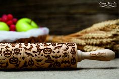 HALLOWEEN embossing Rolling Pin.Laser Engraved Rolling Pin.Halloween decor. Halloween gift. Gift for kids.Wooden gift.Halloween pattern. From Etsy.com at OmaMarta $31.00