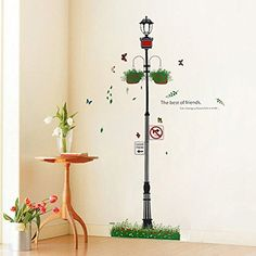 $2.87  - Street Light Potted Plant Wall Decal PVC Home Sticker House Vinyl Paper Decoration WallPaper Living Room Bedroom Kitchen Art Picture DIY Murals Girls Boys kids Nursery Baby Playroom Decor * Find out more about the great product at the image link. (This is an affiliate link) #WallStickersMurals