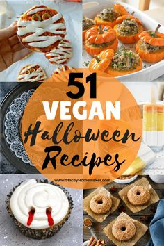 Here's a list of the best vegan Halloween recipes for you to try this Fall! From breakfast to vegan gluten-free Halloween treats, this list has everything you need to throw a spooktacular vegan Halloween feast for your friends and family! Halloween Desserts, Halloween Treats For Kids, Halloween Appetizers, Healthy Halloween, Halloween Cupcakes, Vegan Halloween Recipe, Halloween Breakfast, Halloween Dinner, Halloween Horror