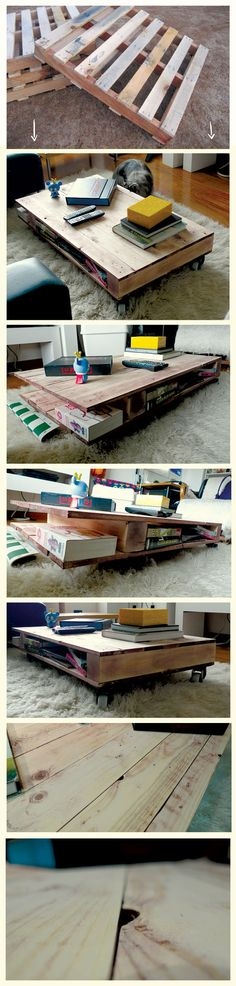 DIY Coffee table made out of used wood pallet. made by me @Nicolas Acosta