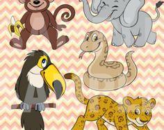 Jungle Safari Clip Art | Jungle Animal Clip Art Safari Digital Clipart Zebra Monkey Giraffe Pic ...
