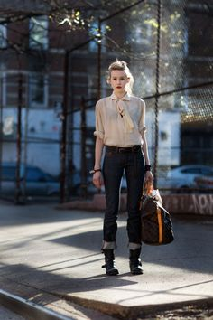 I want the tough-feminine-cool look.  via from paris to london via the sartorialist.