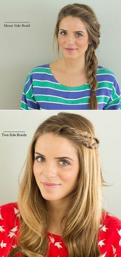 1) twisted back at the crown, pinned and braided 2) double braids pinned back and hair worn down