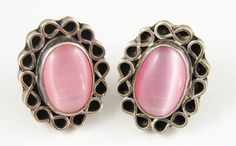 Antique Sterling Silver and Pink Opal Stone Earrings by ThePickingPair, $36.00