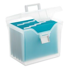 Store and transport hanging files with our Letter-Size Portable File Box.  Integrated file channels accommodate a generous number of hanging files.  The box also features a lockable snap closure and a carrying handle for easy transport.  It's a smart solution for business travelers.  This file box accommodates letter-sized file folders (sold separately).
