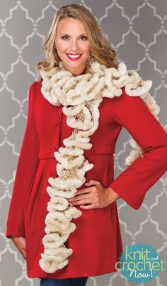 Free Crochet Pattern Download -- This Crochet Ruffle Scarf, design from Premier Yarns Design Team, is featured in episode 409 of Knit and Crochet Now! TV. Learn more here: www.knitandcrochetnow.com