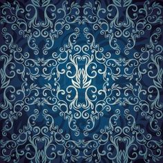Papel de parede abstrato sem emenda floral, foto azul elegante design