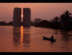 Rowing a boat into the sunset at Kochi #Kerala