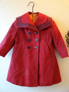 Vintage 50's Burgundy Nautical Stripes Little Girl by JoulesJewels, $34,00