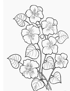 Hand Embroidery Designs, Vintage Embroidery, Embroidery Art, Printable Flower Coloring Pages, Colouring Pages, Saree Painting, Fabric Painting, Pencil Drawings Of Flowers, Art Drawings