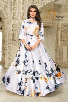 Pearl White Color Taiwan Satin Silk Kurti With Shibori Print Designer Gowns, Indian Designer Wear, Indian Designers, Frock Fashion, Fashion Dresses, Style Fashion, European Fashion, Indian Fashion, European Style