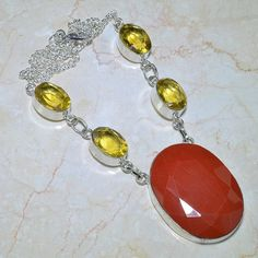 "Amazing Handcrafted Red Coral Citrine Silver Necklace 19"" $26.00"