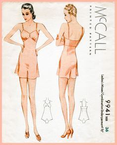 1930s 30s McCall vintage lingerie sewing pattern step in teddy bust 36 b36 English & French reproduction by LadyMarloweStudios on Etsy