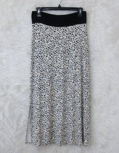Womens KENSIE White Black Brown Animal Print Side Slits Knit Maxi Skirt SZ Small #Kensie #Maxi #Casual