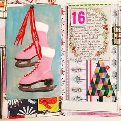 Day 16 of @fourcornersartcollective #adventcalendarart. I certainly did not have fanciful fur-trimmed pink vintage ice skates like these vintage beauties, but I loved ice skating as a child. My neighbors next door always created an ice rink in their backyard each winter, so skating was almost an everyday occurrence. I'm way too uncoordinated to have done jumps or anything, but I loved skating in the woods outside, especially while the snow fell. #366project #artjournalpagedaily…