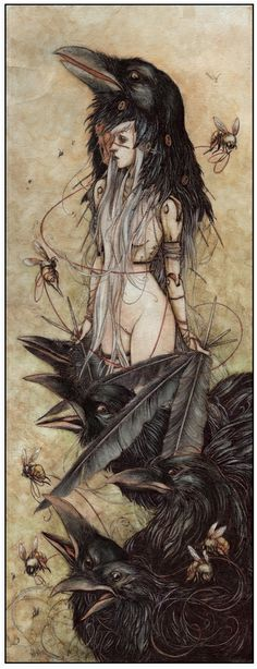 Assuming the Crow Spirit. Art by Jeremy Hush. The crow is a spirit animal associated with life mysteries and magic. Crows serve as totems and spirit guides during many shamanistic rituals. Art And Illustration, Illustrations, Feral Heart, Art Noir, Drawn Art, Arte Obscura, Crows Ravens, Art Graphique, Hush Hush