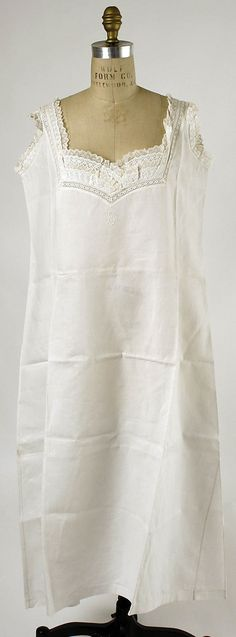Chemise  Date: 1880s Culture: American (probably) Medium: linen