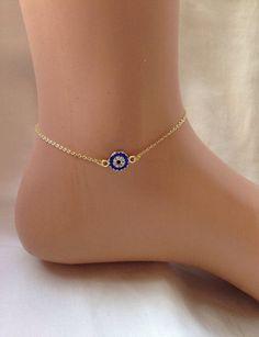 Gold Plated Evil Eye Ankle Bracelet ,Bridesmaid Gift,Gold Anklet,Summer…