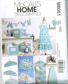 McCalls 6051 Apron Sewing Pattern Tiered Retro Hangers Ironing board Cover organization items. $4.00, via Etsy.
